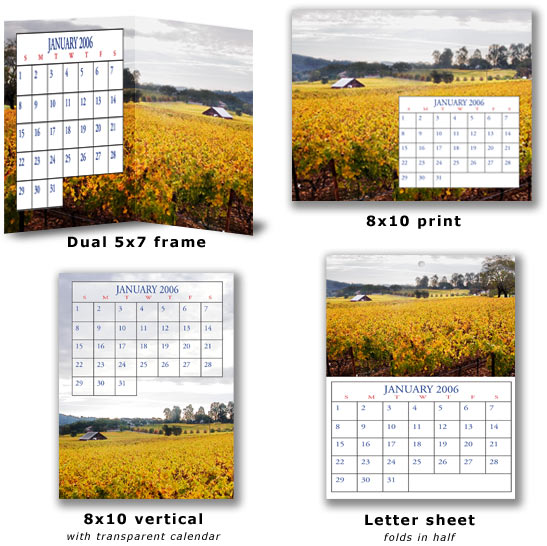 calendars. shape of the calendar to